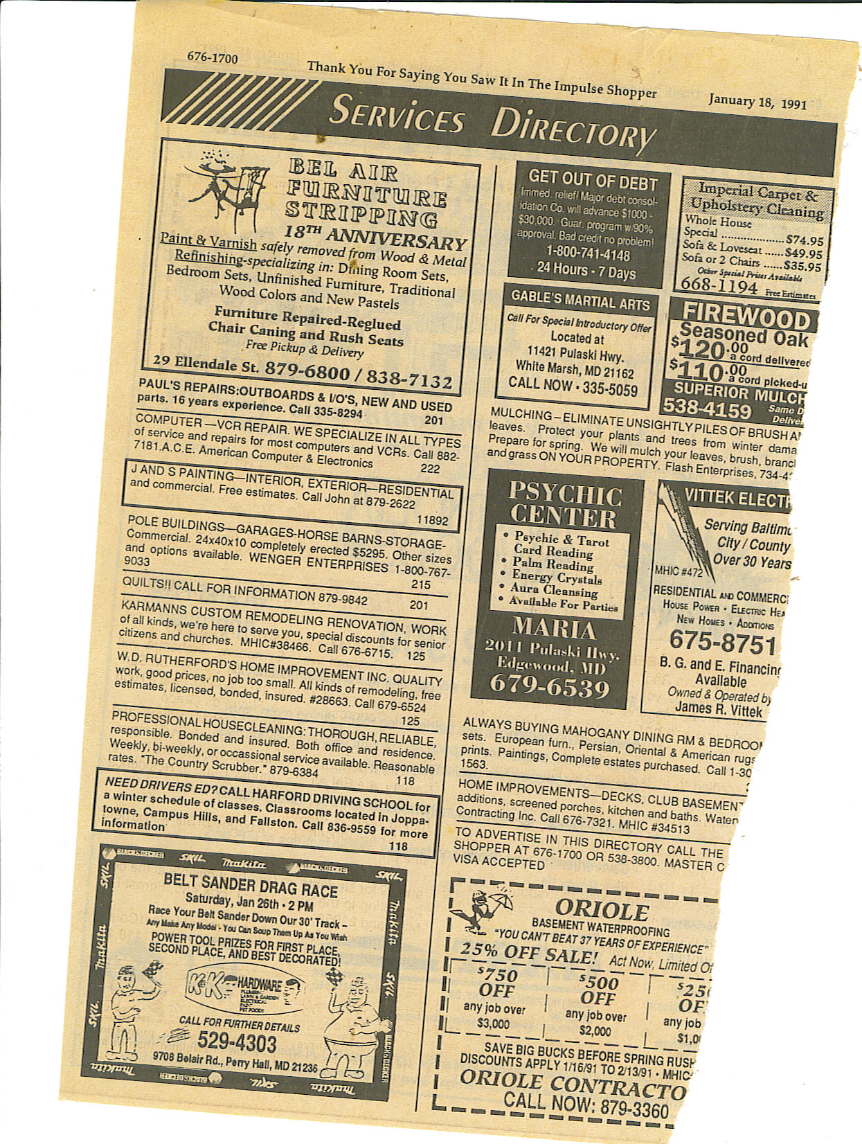 Here are some of our old advertisements, specials, etc. - Bel Air Furniture Refinishing